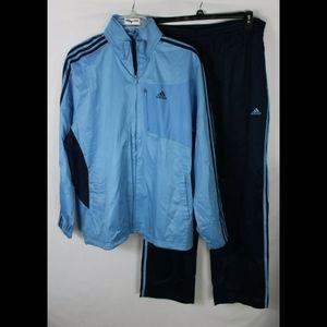 Adidas Blue Mens Three stripe Tracksuit Jacket and